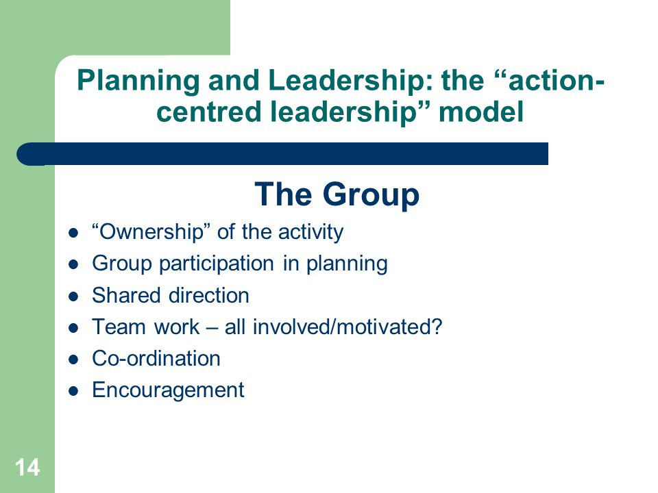 14 Planning and Leadership: the action- centred leadership model The Group Ownership of the activity Group participation in planning Shared direction Team work – all involved/motivated.