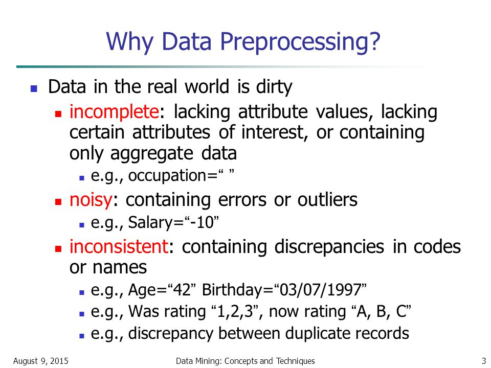 August 9, 2015Data Mining: Concepts and Techniques3 Why Data Preprocessing.
