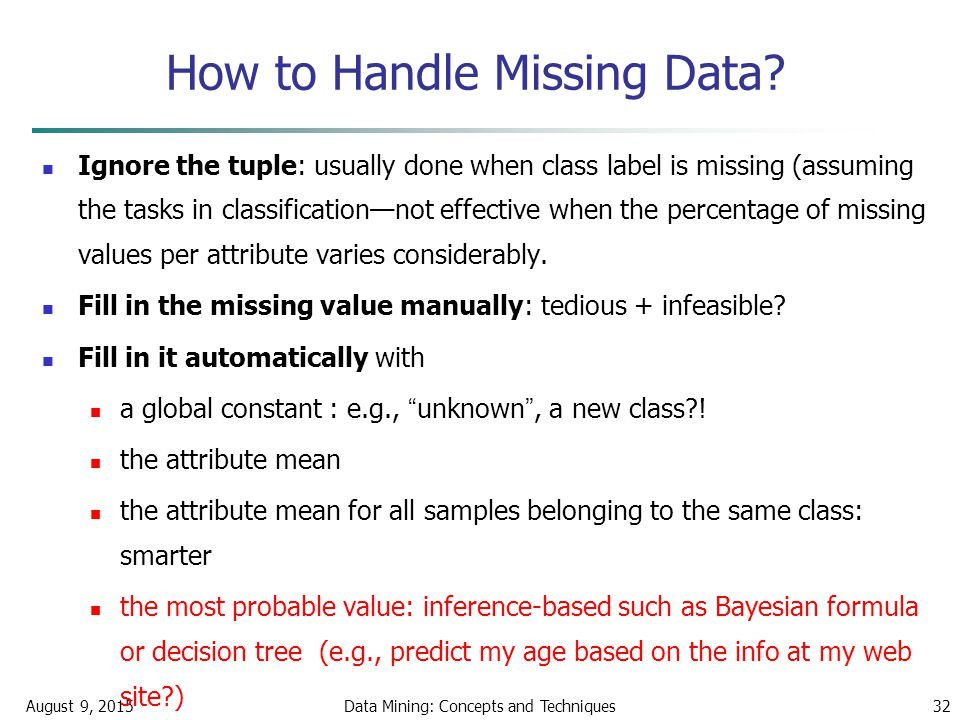 August 9, 2015Data Mining: Concepts and Techniques32 How to Handle Missing Data.