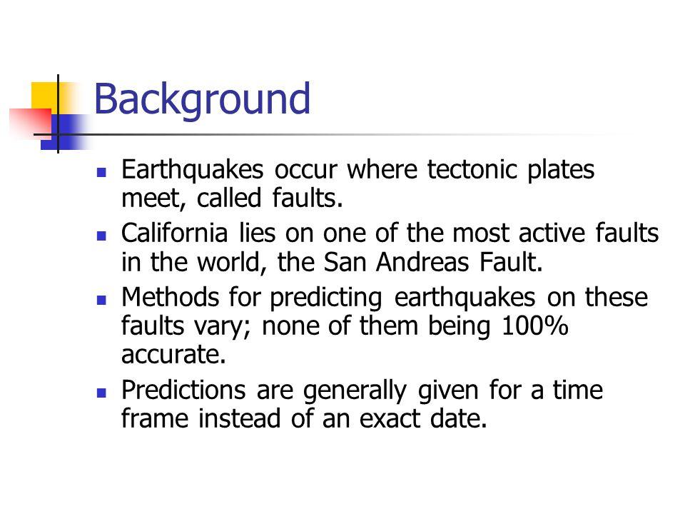 Earthquake Prediction Methods By Jason Long  Outline