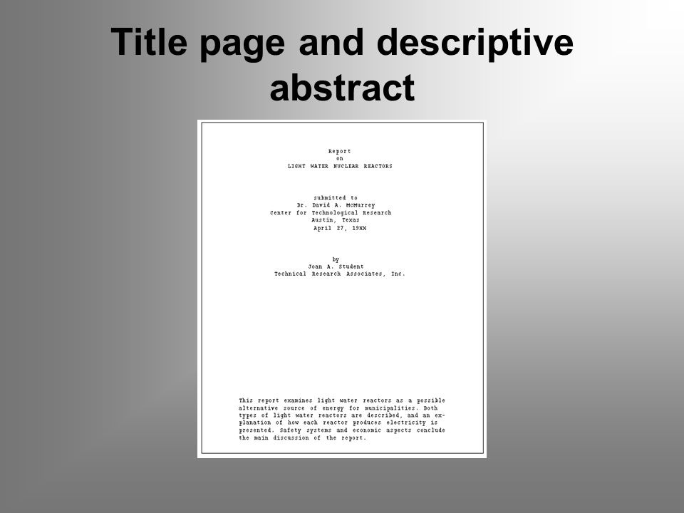 Title page and descriptive abstract