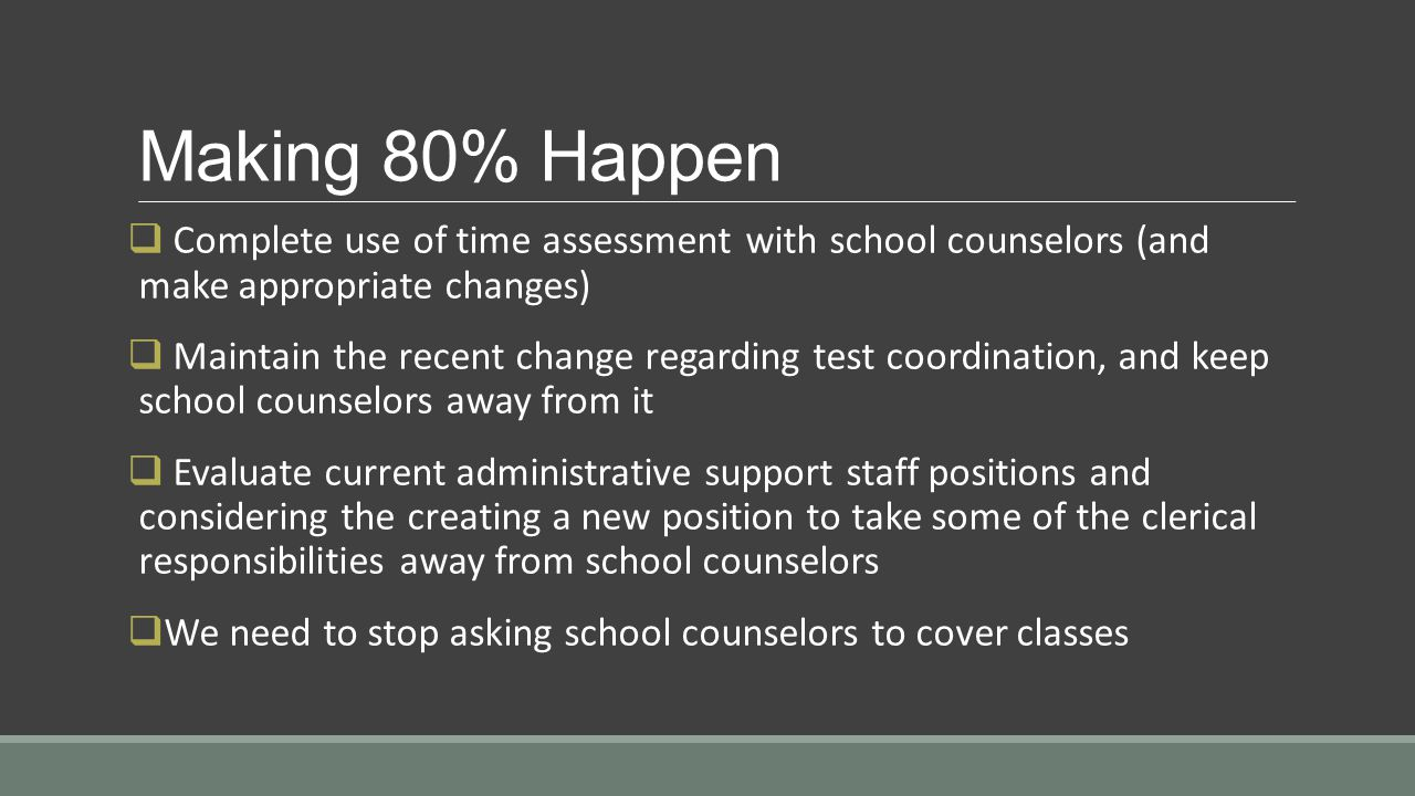 Making 80% Happen  Complete use of time assessment with school counselors (and make appropriate changes)  Maintain the recent change regarding test coordination, and keep school counselors away from it  Evaluate current administrative support staff positions and considering the creating a new position to take some of the clerical responsibilities away from school counselors  We need to stop asking school counselors to cover classes