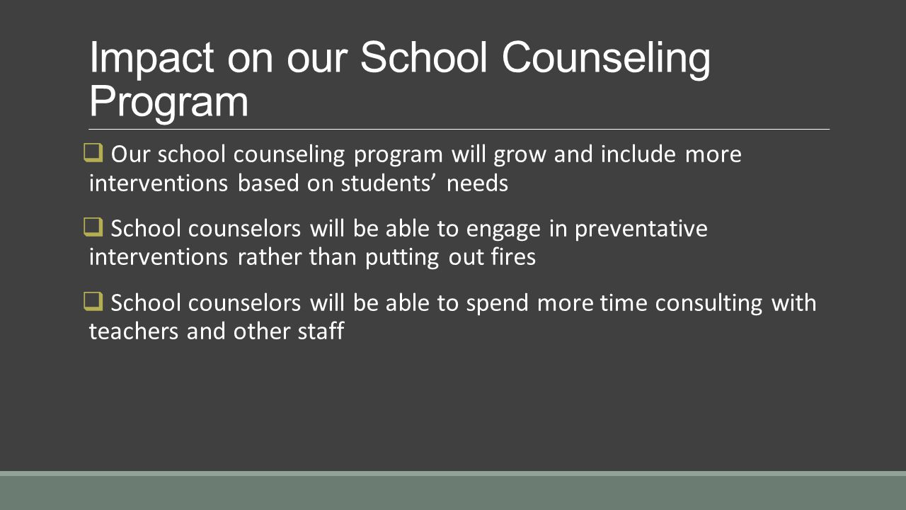 Impact on our School Counseling Program  Our school counseling program will grow and include more interventions based on students' needs  School counselors will be able to engage in preventative interventions rather than putting out fires  School counselors will be able to spend more time consulting with teachers and other staff
