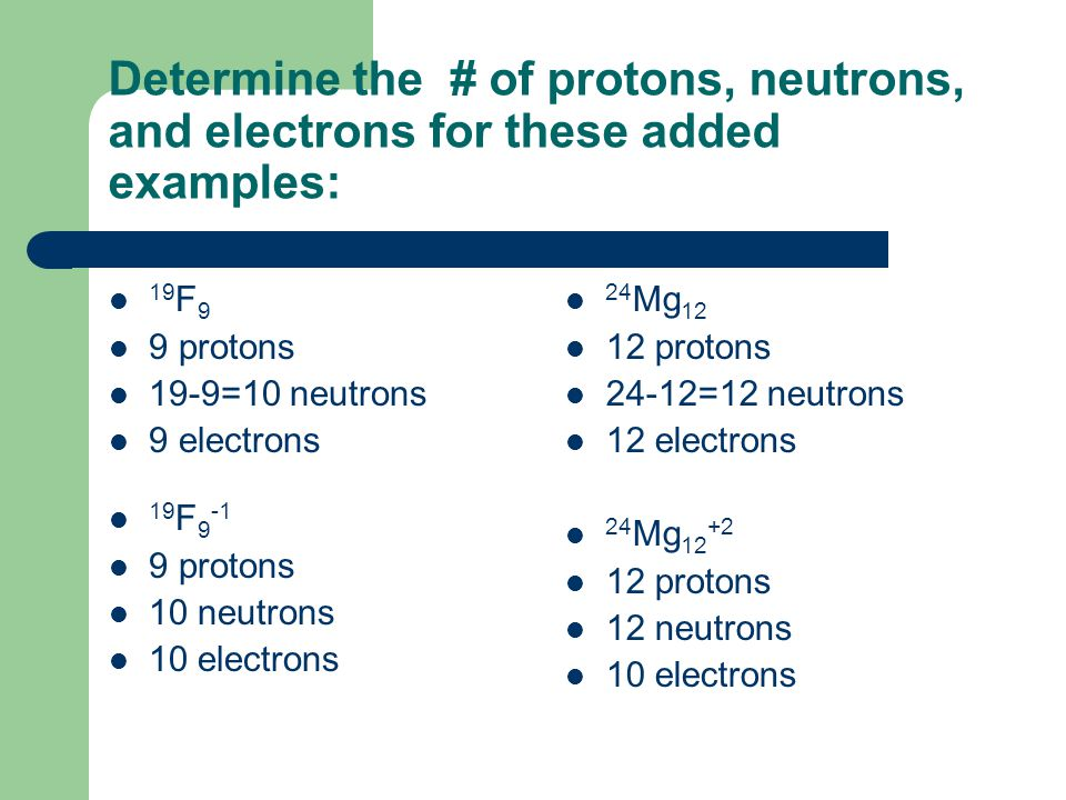 Determine the # of protons, neutrons, and electrons for these added examples: 19 F 9 9 protons 19-9=10 neutrons 9 electrons 19 F protons 10 neutrons 10 electrons 24 Mg protons 24-12=12 neutrons 12 electrons 24 Mg protons 12 neutrons 10 electrons