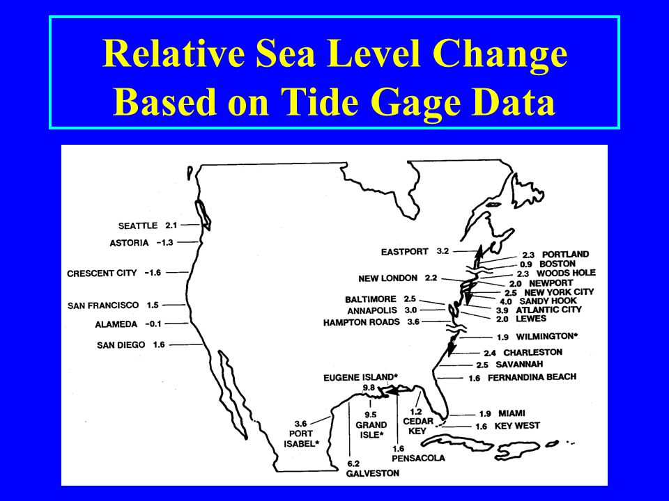 Relative Sea Level Change Based on Tide Gage Data