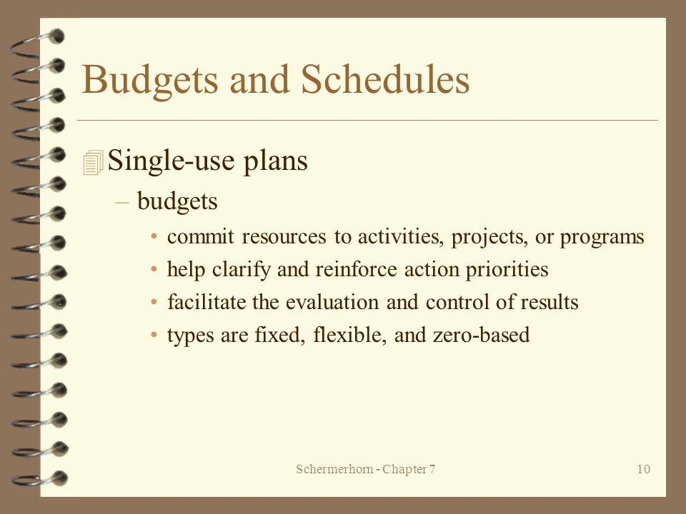 Schermerhorn - Chapter 710 Budgets and Schedules 4 Single-use plans –budgets commit resources to activities, projects, or programs help clarify and reinforce action priorities facilitate the evaluation and control of results types are fixed, flexible, and zero-based