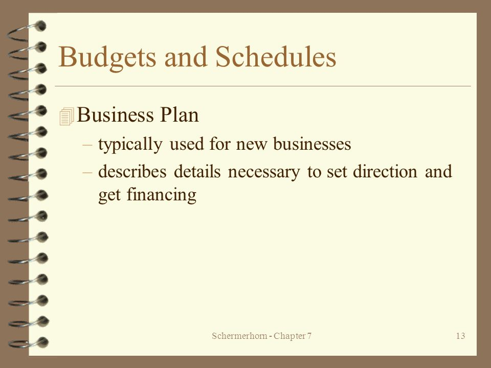 Schermerhorn - Chapter 713 Budgets and Schedules 4 Business Plan –typically used for new businesses –describes details necessary to set direction and get financing