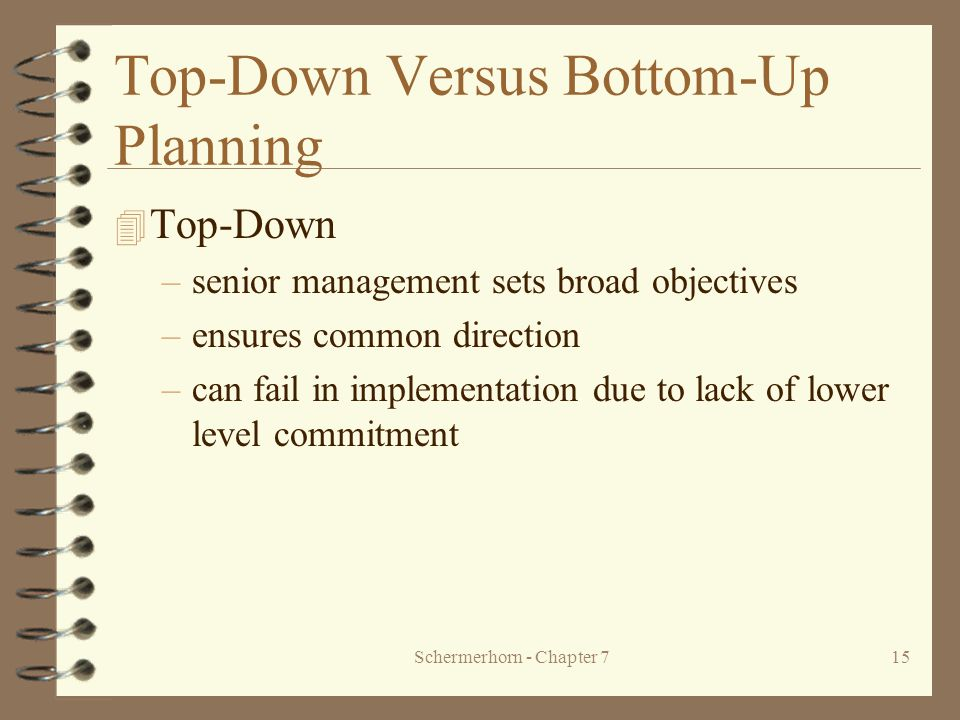 Schermerhorn - Chapter 715 Top-Down Versus Bottom-Up Planning 4 Top-Down –senior management sets broad objectives –ensures common direction –can fail in implementation due to lack of lower level commitment