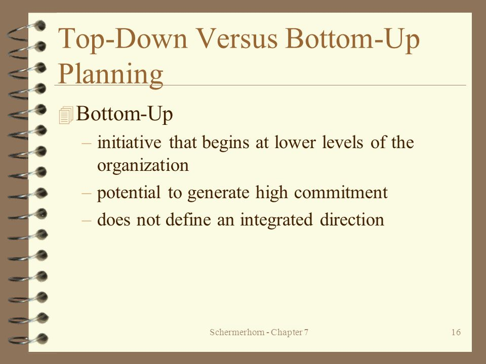 Schermerhorn - Chapter 716 Top-Down Versus Bottom-Up Planning 4 Bottom-Up –initiative that begins at lower levels of the organization –potential to generate high commitment –does not define an integrated direction