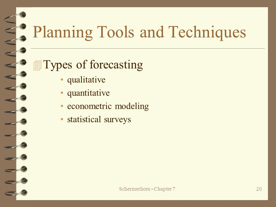 Schermerhorn - Chapter 720 Planning Tools and Techniques 4 Types of forecasting qualitative quantitative econometric modeling statistical surveys