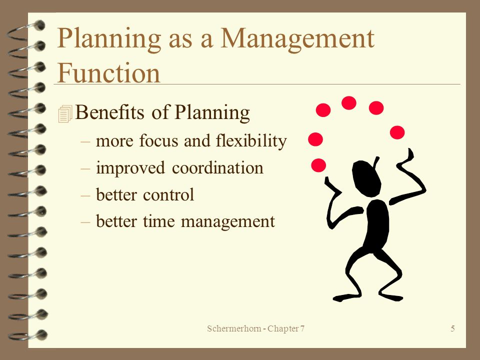 Schermerhorn - Chapter 75 Planning as a Management Function 4 Benefits of Planning –more focus and flexibility –improved coordination –better control –better time management