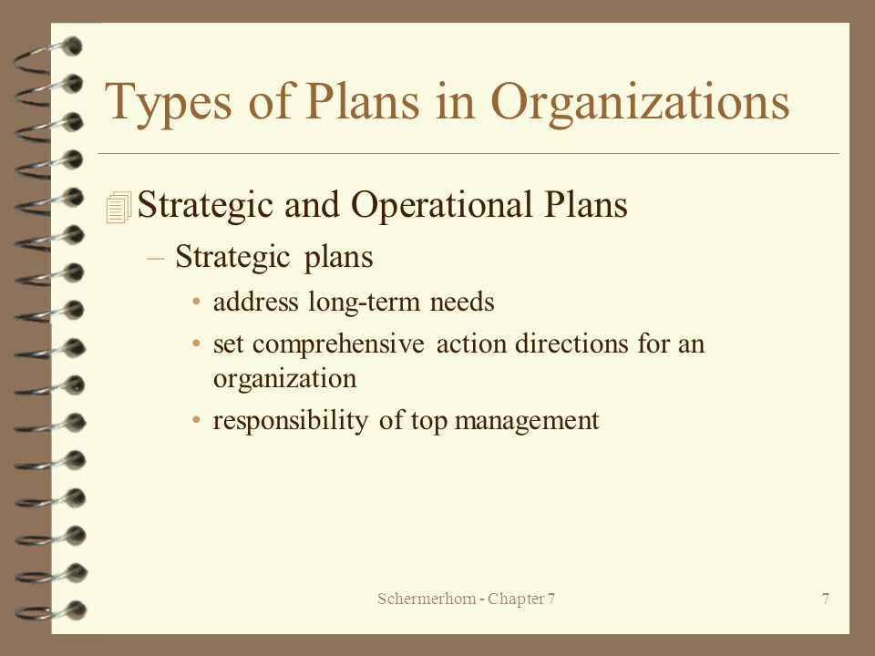 Schermerhorn - Chapter 77 Types of Plans in Organizations 4 Strategic and Operational Plans –Strategic plans address long-term needs set comprehensive action directions for an organization responsibility of top management