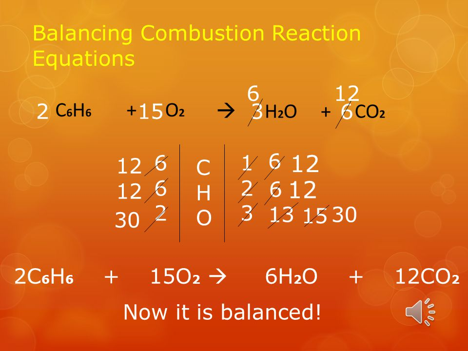 How to Setup Combustion Reaction Balancing Equations  Say you have C 6 H 6, this is how you set up a hydrocarbon combustion reaction.