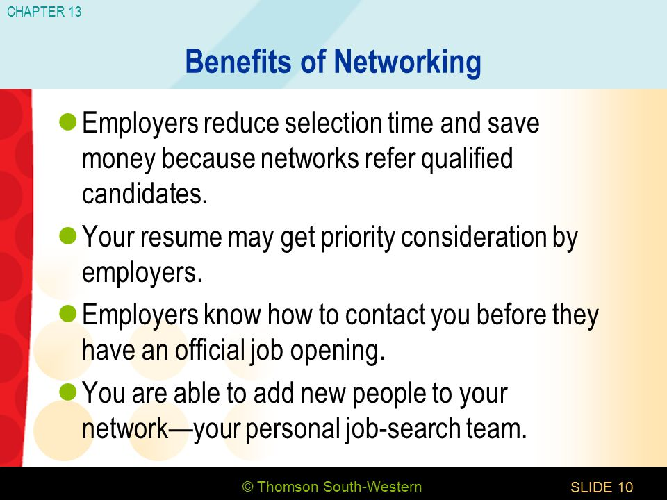 © Thomson South-Western CHAPTER 13 SLIDE10 Benefits of Networking Employers reduce selection time and save money because networks refer qualified candidates.
