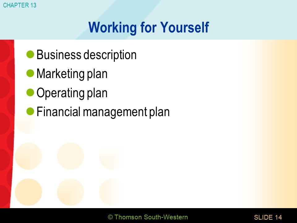 © Thomson South-Western CHAPTER 13 SLIDE14 Working for Yourself Business description Marketing plan Operating plan Financial management plan