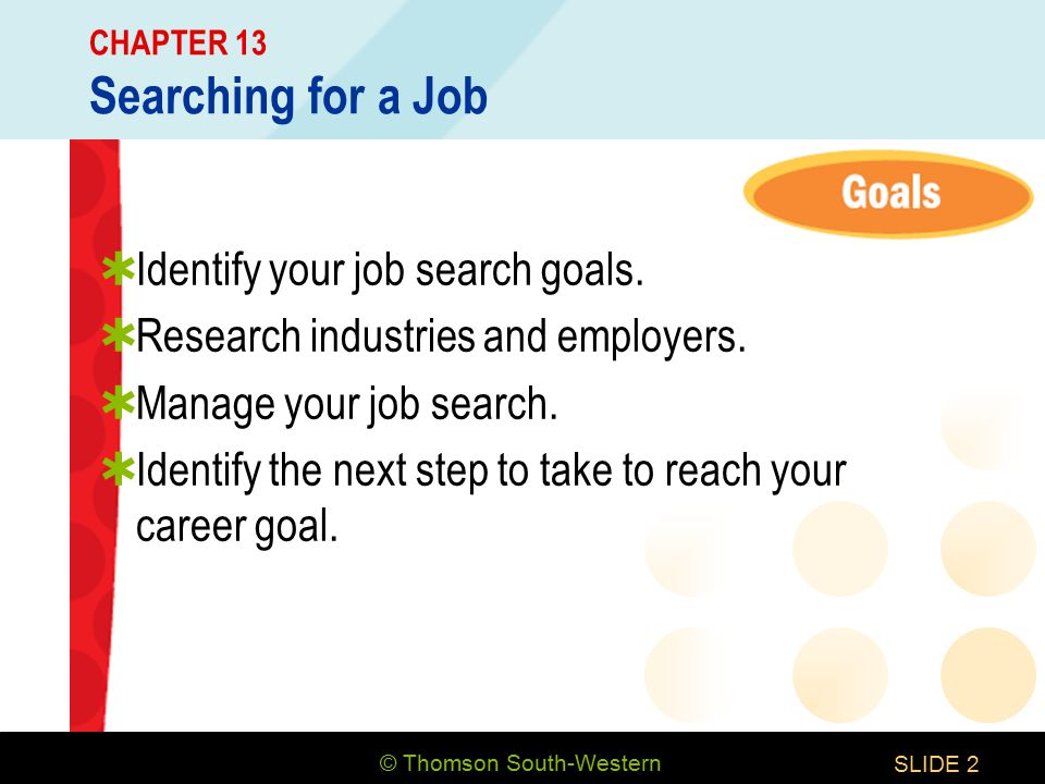 © Thomson South-Western SLIDE2 CHAPTER 13 Searching for a Job  Identify your job search goals.