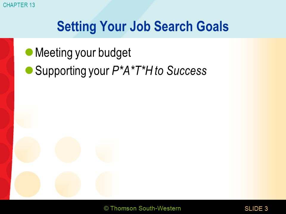 © Thomson South-Western CHAPTER 13 SLIDE3 Setting Your Job Search Goals Meeting your budget Supporting your P*A*T*H to Success