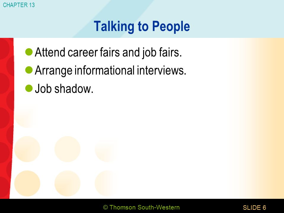 © Thomson South-Western CHAPTER 13 SLIDE6 Talking to People Attend career fairs and job fairs.