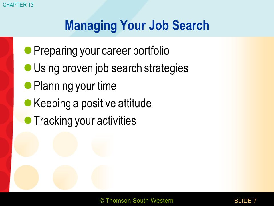 © Thomson South-Western CHAPTER 13 SLIDE7 Managing Your Job Search Preparing your career portfolio Using proven job search strategies Planning your time Keeping a positive attitude Tracking your activities
