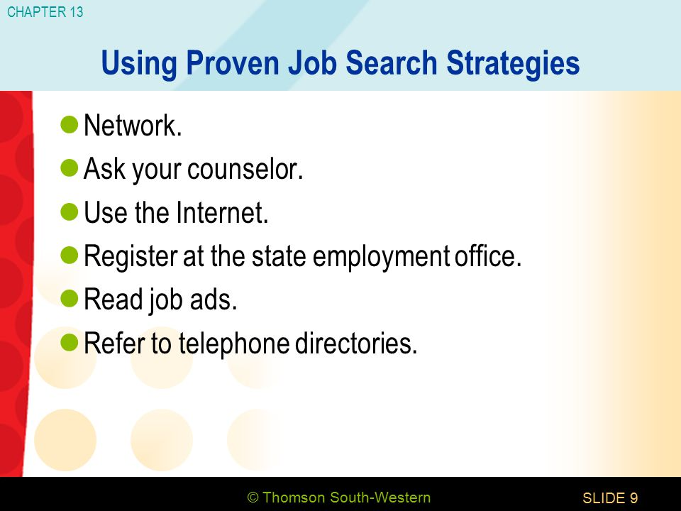 © Thomson South-Western CHAPTER 13 SLIDE9 Using Proven Job Search Strategies Network.