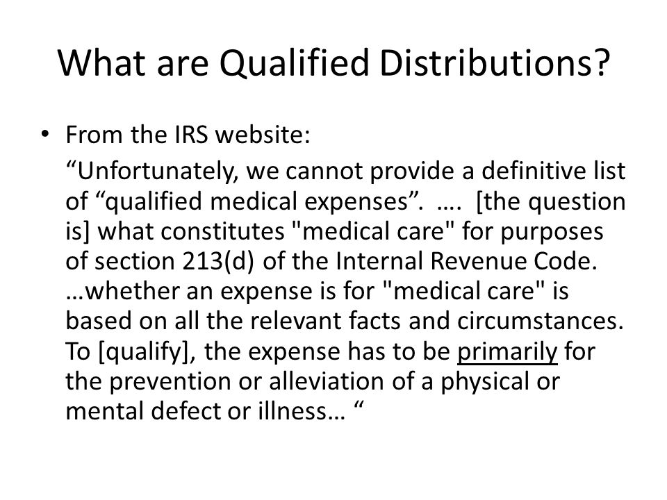 What are Qualified Distributions.