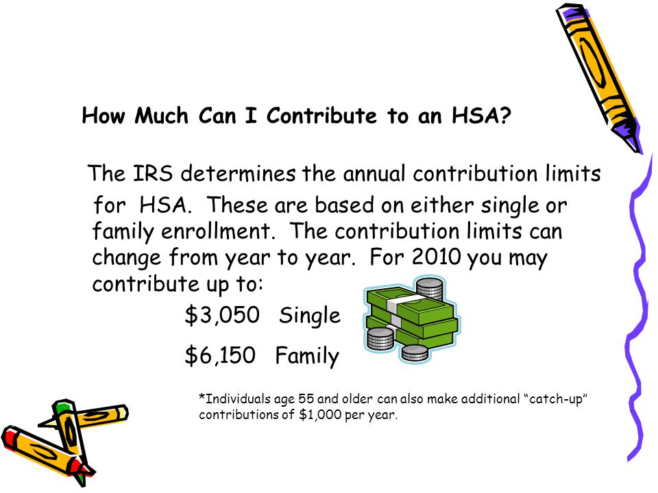 How Much Can I Contribute to an HSA. The IRS determines the annual contribution limits for HSA.