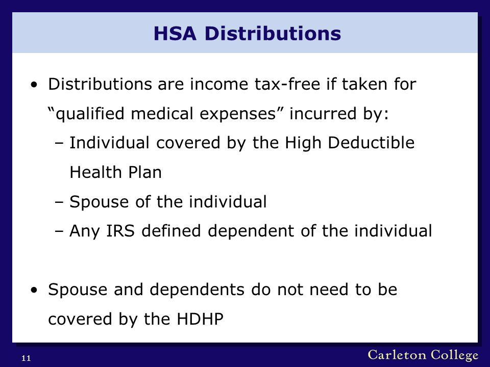 HSA Distributions Distributions are income tax-free if taken for qualified medical expenses incurred by: –Individual covered by the High Deductible Health Plan –Spouse of the individual –Any IRS defined dependent of the individual Spouse and dependents do not need to be covered by the HDHP 11