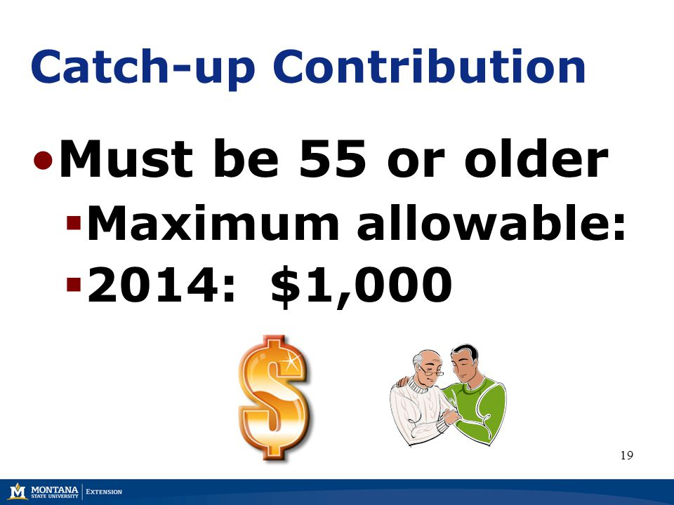 Catch-up Contribution Must be 55 or older  Maximum allowable:  2014: $1,000 19