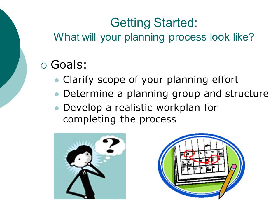 Getting Started: What will your planning process look like.