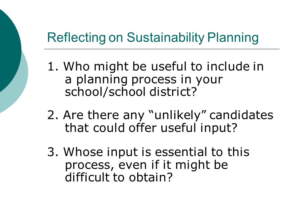 Reflecting on Sustainability Planning 1.