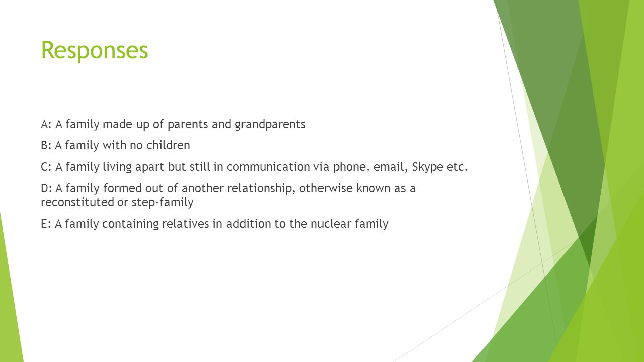 Responses A: A family made up of parents and grandparents B: A family with no children C: A family living apart but still in communication via phone,  , Skype etc.