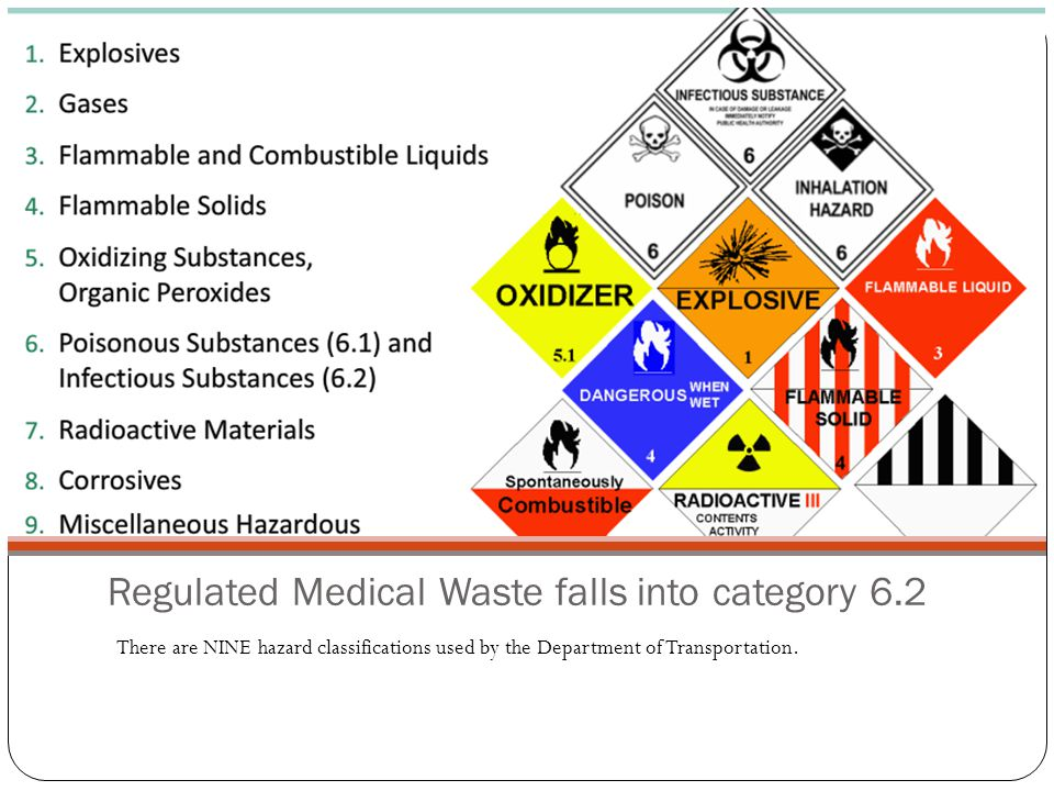 Regulated Medical Waste falls into category 6.2 There are NINE hazard classifications used by the Department of Transportation.