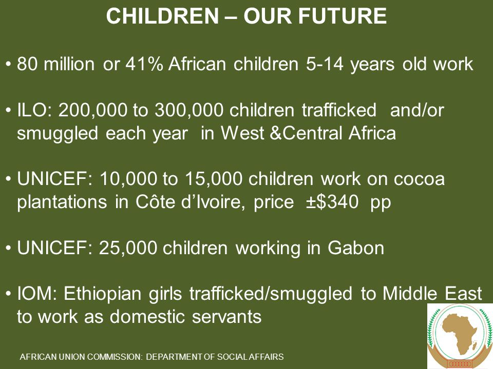 5 AFRICAN UNION COMMISSION: DEPARTMENT OF SOCIAL AFFAIRS 80 million or 41% African children 5-14 years old work ILO: 200,000 to 300,000 children trafficked and/or smuggled each year in West &Central Africa UNICEF: 10,000 to 15,000 children work on cocoa plantations in Côte d'Ivoire, price ±$340 pp UNICEF: 25,000 children working in Gabon IOM: Ethiopian girls trafficked/smuggled to Middle East to work as domestic servants CHILDREN – OUR FUTURE