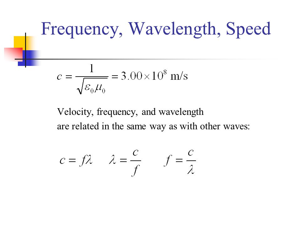 Frequency, Wavelength, Speed Velocity, frequency, and wavelength are related in the same way as with other waves: