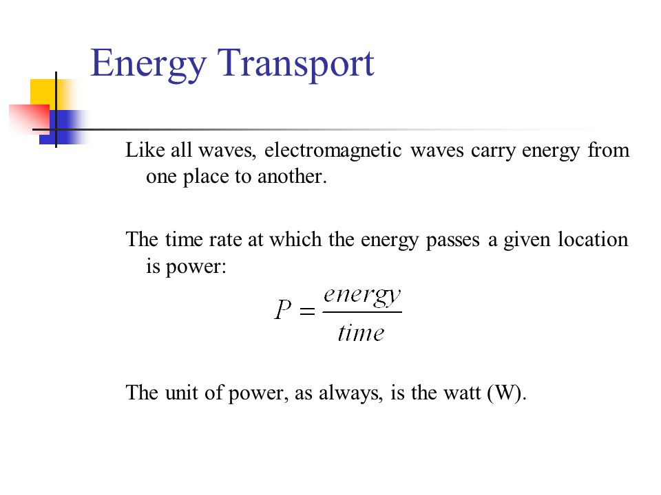 Energy Transport Like all waves, electromagnetic waves carry energy from one place to another.