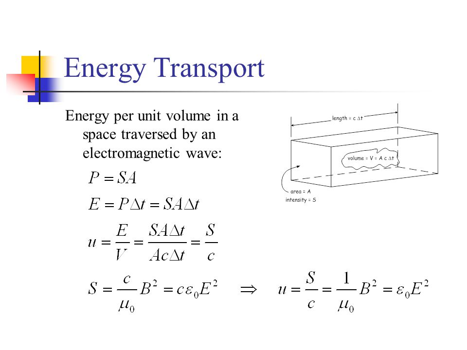 Energy Transport Energy per unit volume in a space traversed by an electromagnetic wave: