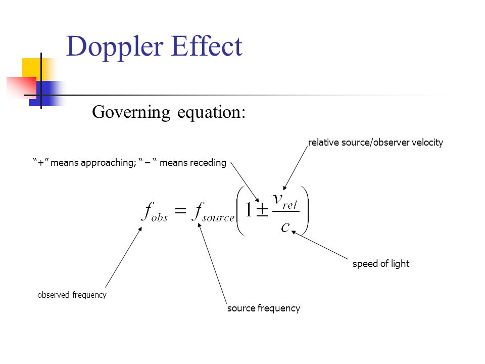 Doppler Effect Governing equation: observed frequency source frequency relative source/observer velocity speed of light + means approaching; – means receding