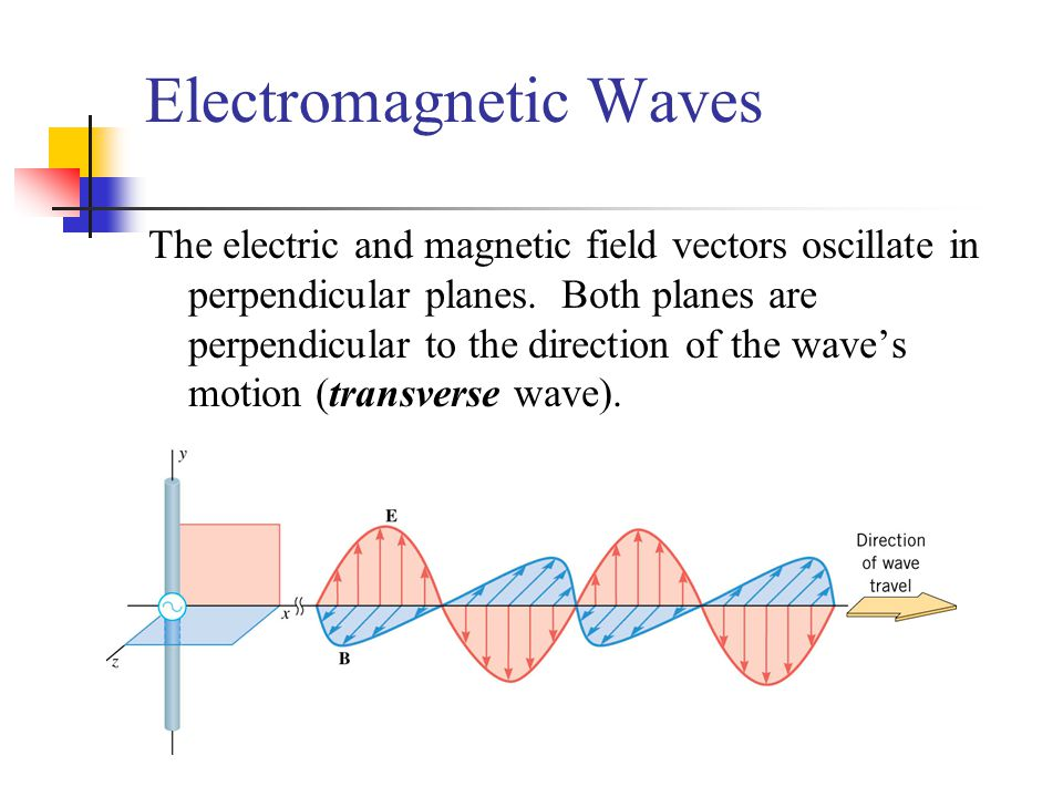Electromagnetic Waves The electric and magnetic field vectors oscillate in perpendicular planes.