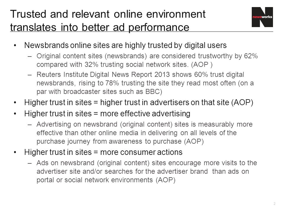 Newsbrands online sites are highly trusted by digital users –Original content sites (newsbrands) are considered trustworthy by 62% compared with 32% trusting social network sites.