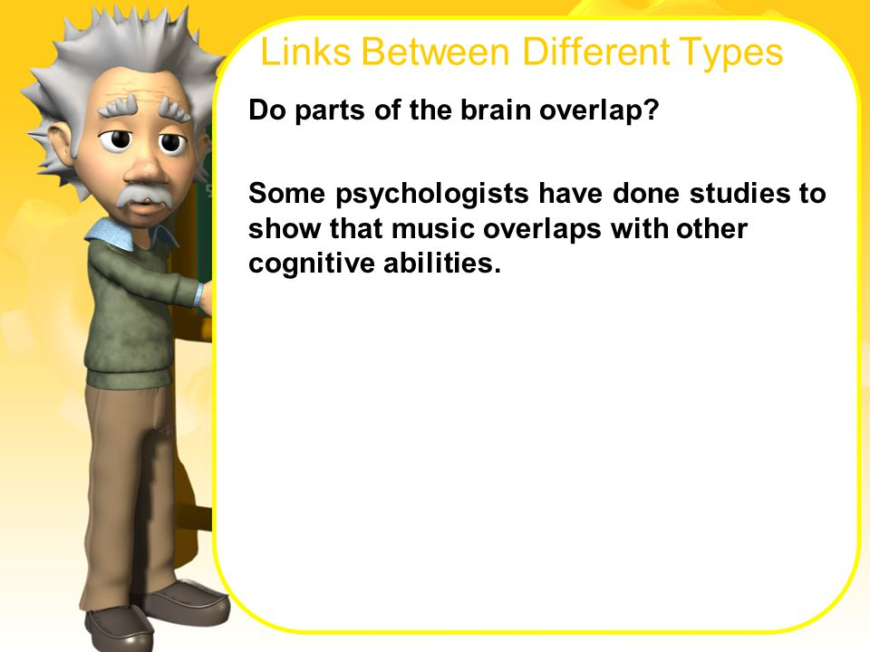 Links Between Different Types Do parts of the brain overlap.