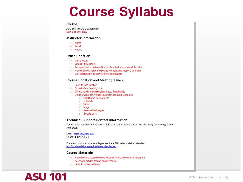 25 © 2007 Arizona State University Course Syllabus