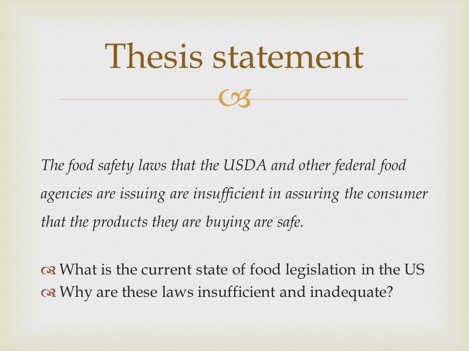 Thesis of food safety