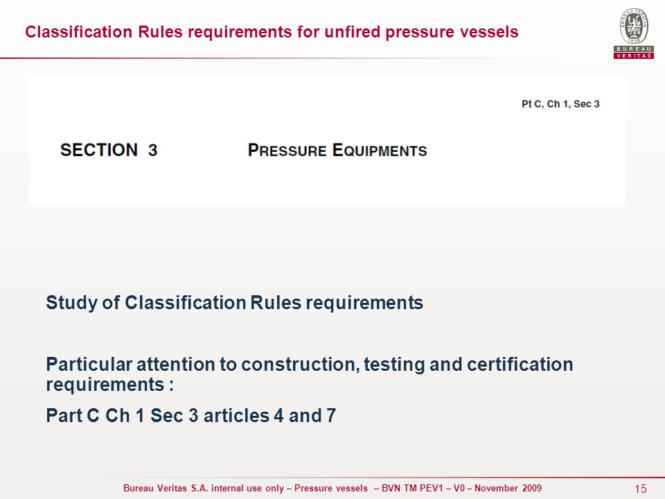 classification of pressure vessels