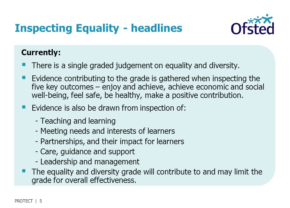 PROTECT | 5 Inspecting Equality - headlines Currently:  There is a single graded judgement on equality and diversity.