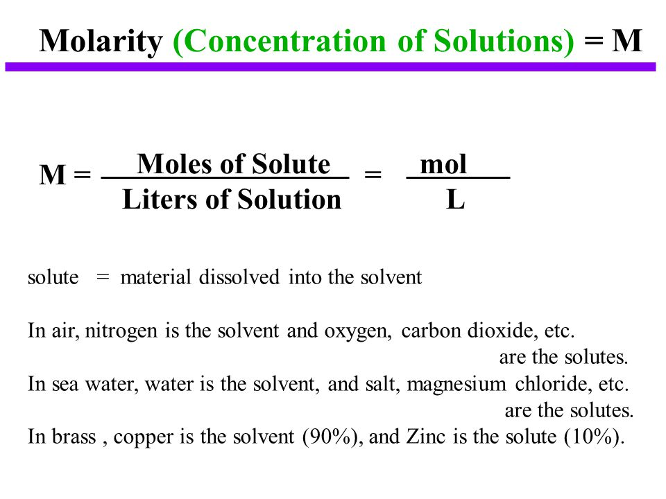 Molarity (Concentration of Solutions) = M M = = Moles of Solute mol Liters of Solution L solute = material dissolved into the solvent In air, nitrogen is the solvent and oxygen, carbon dioxide, etc.