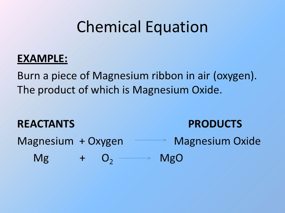 magnesium and oxygen reaction formula