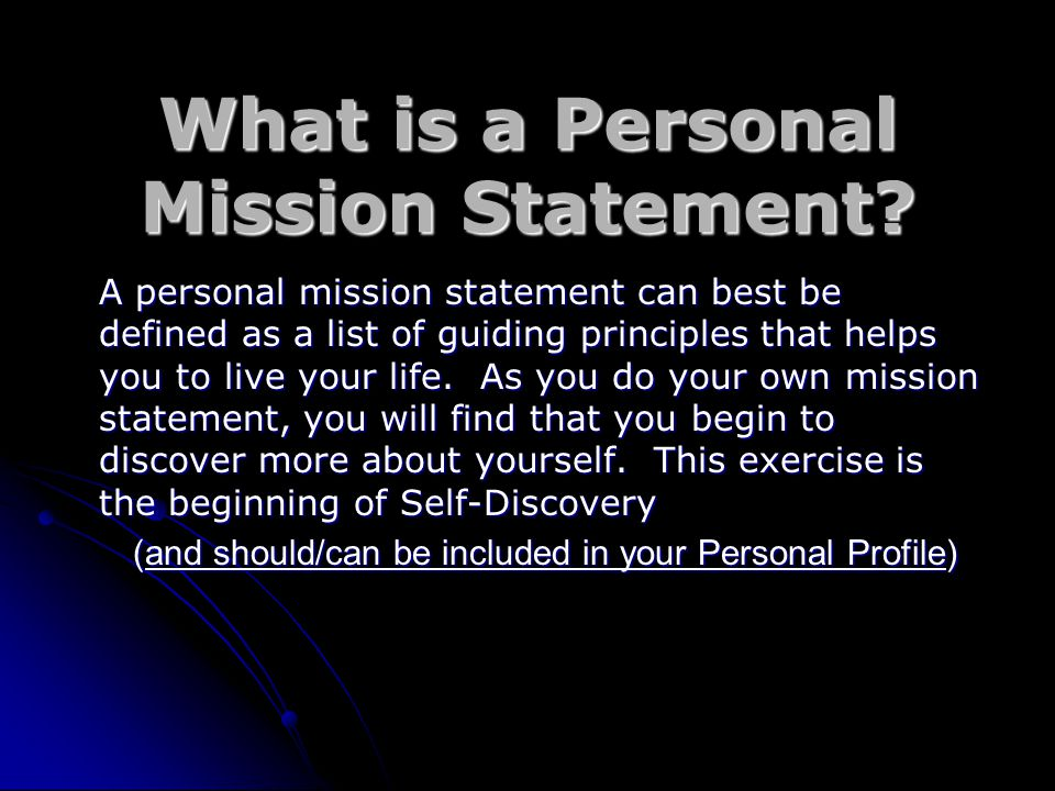 personal mission statement definition