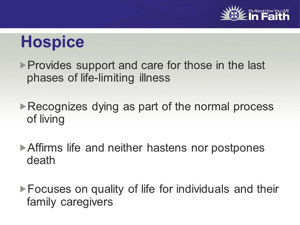 Hospice  Provides support and care for those in the last phases of life-limiting illness  Recognizes dying as part of the normal process of living  Affirms life and neither hastens nor postpones death  Focuses on quality of life for individuals and their family caregivers