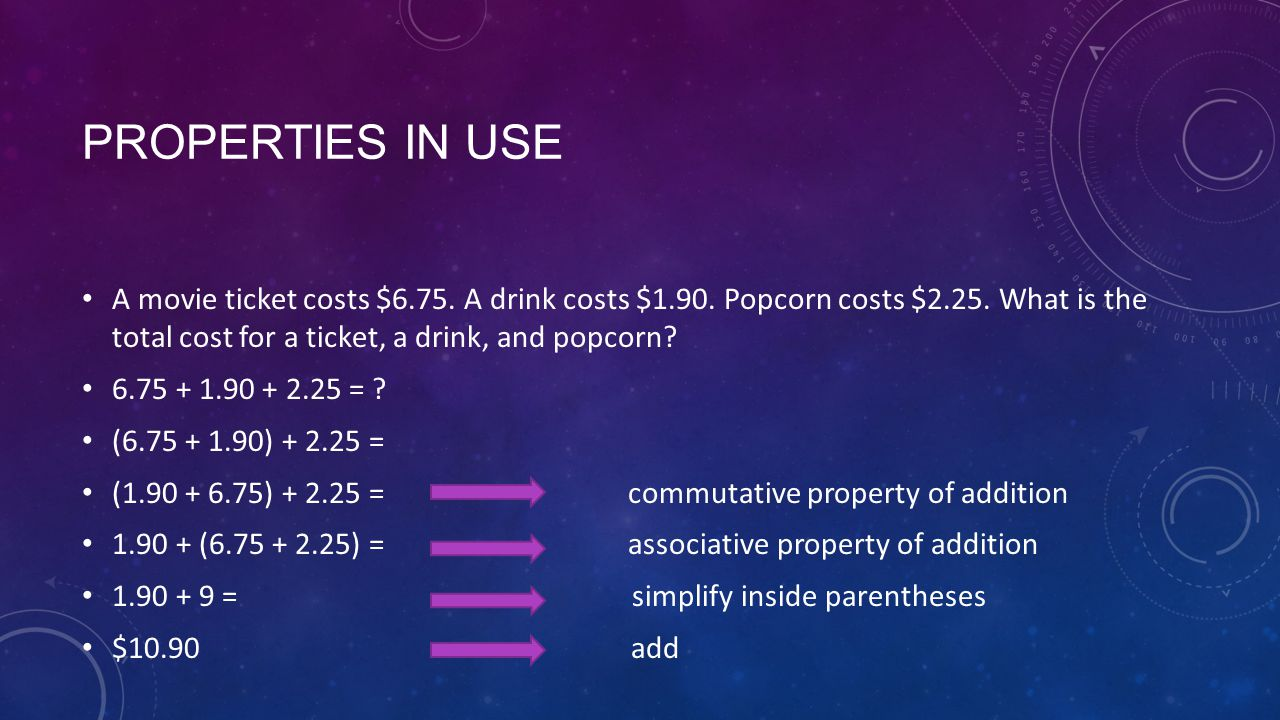 PROPERTIES IN USE A movie ticket costs $6.75. A drink costs $1.90.