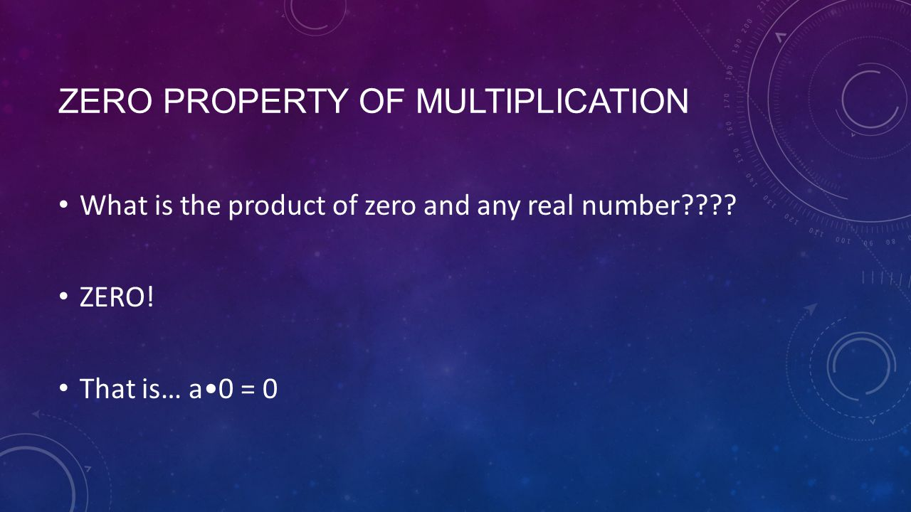 ZERO PROPERTY OF MULTIPLICATION What is the product of zero and any real number .